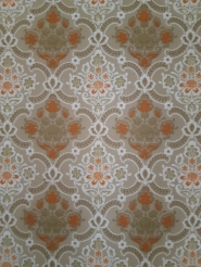 Grey, green and orange damask vintage wallpaper