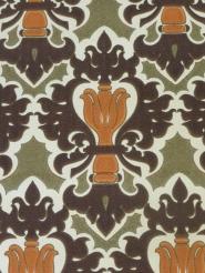 papier peint damassé orange brun vert