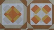 papier peint vintage figure géometrique marron orange