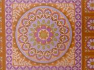 papier peint vintage geometrique avec fleurs purpre et orange