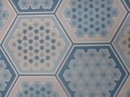 vintage behang geometrisch blauwe zeshoeken