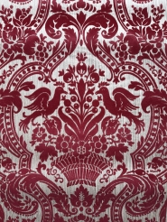 Vintage flock wallpaper big bordeaux medallion with birds