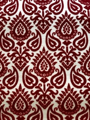 Bordeaux beige vintage flock wallpaper