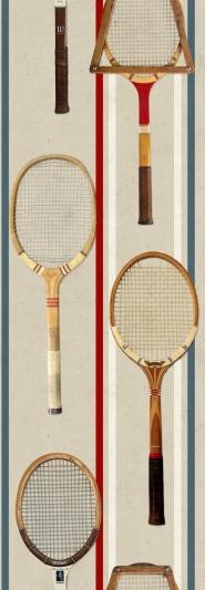 Tennisraketten behang beige