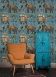 De olifanten processie behang blauw
