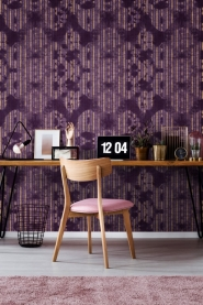Premium wallpaper Washed Shibori Burgund