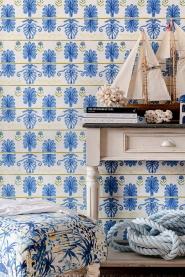 Papier peint de luxe Mykonos villa bleu-blanc