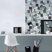 Afwasbaar post-it behang blauw en grijs