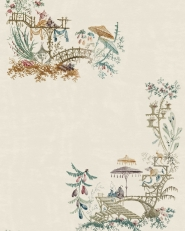 Premium wallpaper Chinoiserie blue coconut