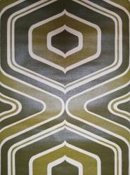 geometrisch vintage behang groene lijnen