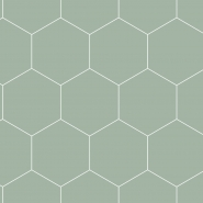 Papier peint hexagone vert - blanc