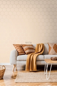 Papier peint hexagone beige-or