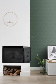 Papier peint hexagone vert foncé - or