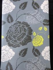 papier peint intisse fleurs rose, jaune et noir