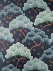 Behang donkerblauw met grijsgroen