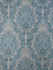 blauw medaillon vintage behang