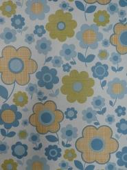 vintage bloemenbehang blauw geel