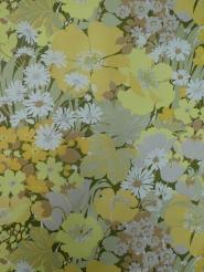 vintage bloemenbehang geel groen