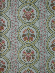 Vintage floral wallpaper with pink, yellow and green