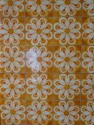Shiny vintage orange floral wallpaper