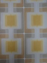 vintage geometrisch behang grijs geel bruin