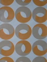 Papier peint vintage géometrique cercles orange gris
