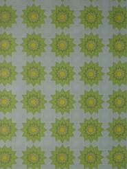 Vintage geometrisch behang groene en gele zonnen