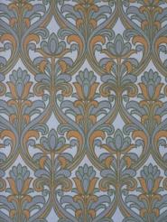 Papier peint vintage damassé gris orange avec fleurs