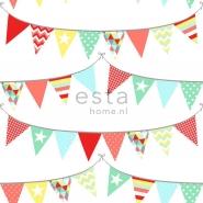 ESTA behang vlagjes rood geel blauw