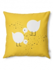 coussin jaune Juli avec oiseaux