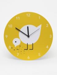 horloge mural poussin jaune