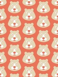 ours sur un fond rouge