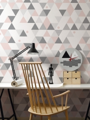 triangles pink grey mural LAVMI