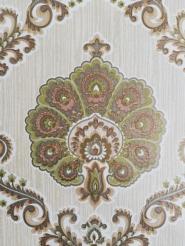 Papier peint vintage damassé vert or