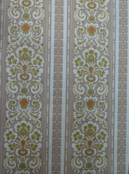 green brown double damask vintage wallpaper
