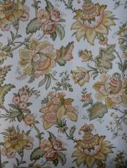 vintage bloemenbehang oranje groen
