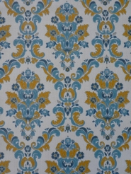 vintage damask wallpaper blue yellow