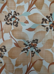vintage floral wallpaper brown turquoise