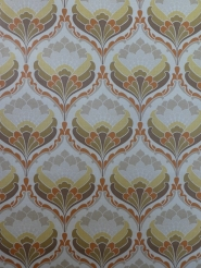 yellow orange brown damask vintage wallpaper