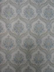blauw grijs medaillon vintage behang