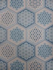 vintage geometric wallaper blue hexagons