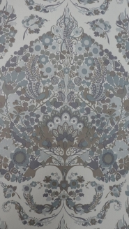big floral medallion in purple grey and brown