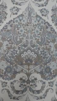 groot bloemen medaillon in paars bruin en grijs