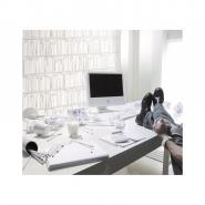 Witte boekenkast behang