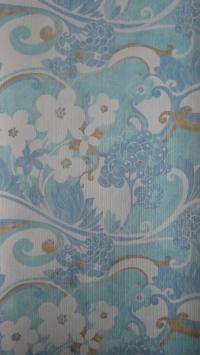 vintage bloemenbehang blauw wit